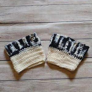 Accessories - Black and White Crocheted Bootcuffs